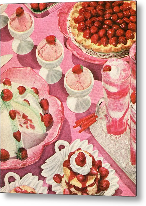 Milk Metal Print featuring the photograph Variety Of Strawberry Desserts by Graphicaartis