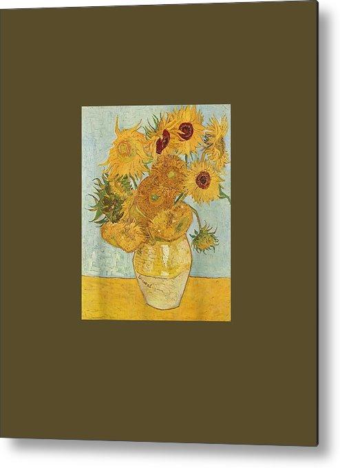 girls' Novelty T-shirts Metal Print featuring the digital art Vincent Van Gogh - Sunflowers - T Shirt Womens Mens Shirt by Do David