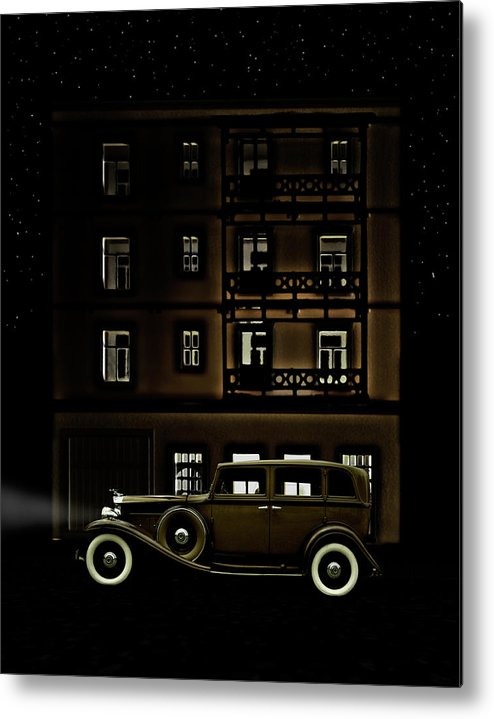 Apartment Metal Print featuring the photograph Vintage Car Outside Apartment Block At by Michael Duva