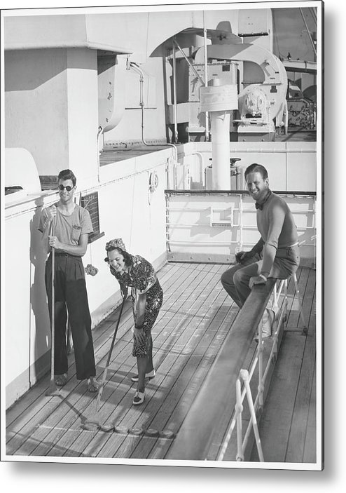 Young Men Metal Print featuring the photograph Woman And Two Men On Cruiser Deck, B&w by George Marks