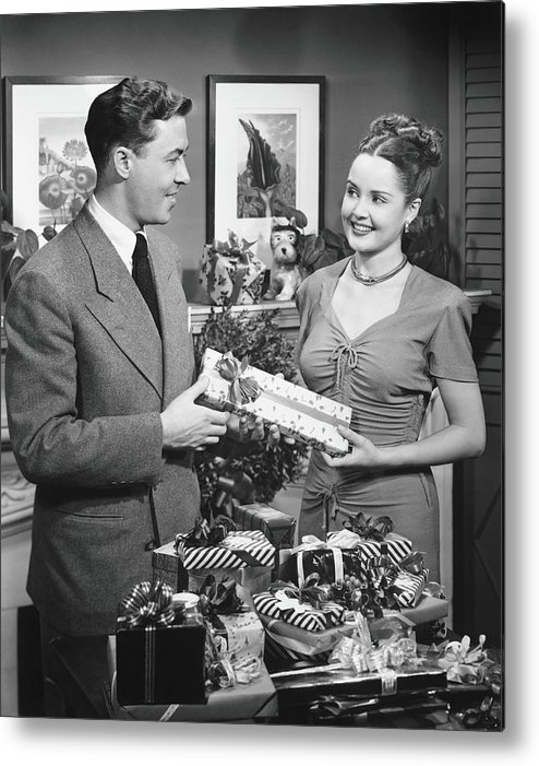 Heterosexual Couple Metal Print featuring the photograph Woman Giving Gift To Man, B&w by George Marks