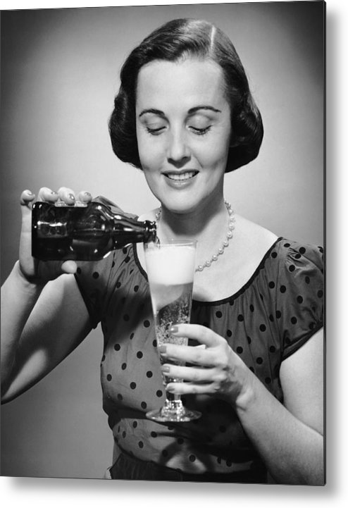 People Metal Print featuring the photograph Woman Pouring Alcoholic Beverage by George Marks