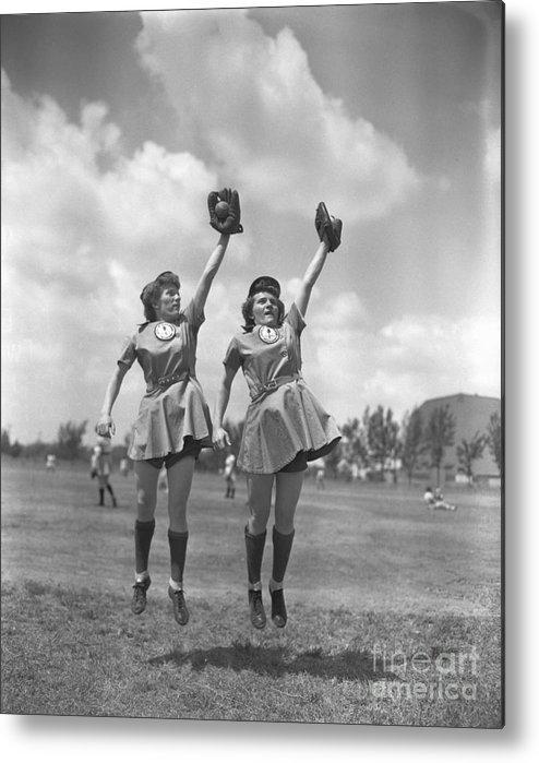 Mid Adult Women Metal Print featuring the photograph Womens Baseball League Twin Players by Bettmann