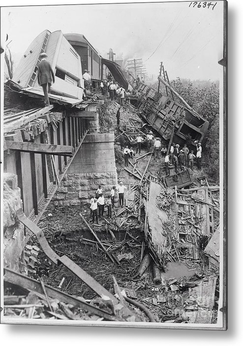 People Metal Print featuring the photograph Workers On Train Wreck Debris by Bettmann