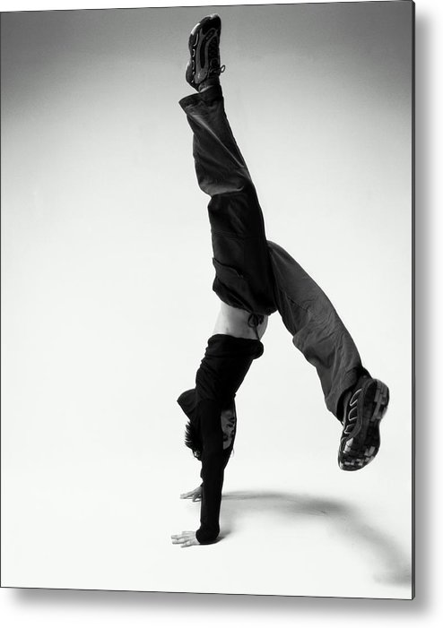 Youth Culture Metal Print featuring the photograph Young Japanese Man Breakdancing B&w by Karen Moskowitz