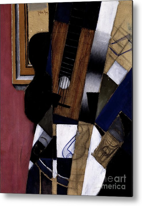Juan Gris Metal Print featuring the painting Guitar And Pipe, 1913 by Juan Gris