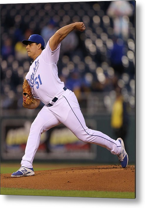 American League Baseball Metal Print featuring the photograph Jason Vargas by Ed Zurga