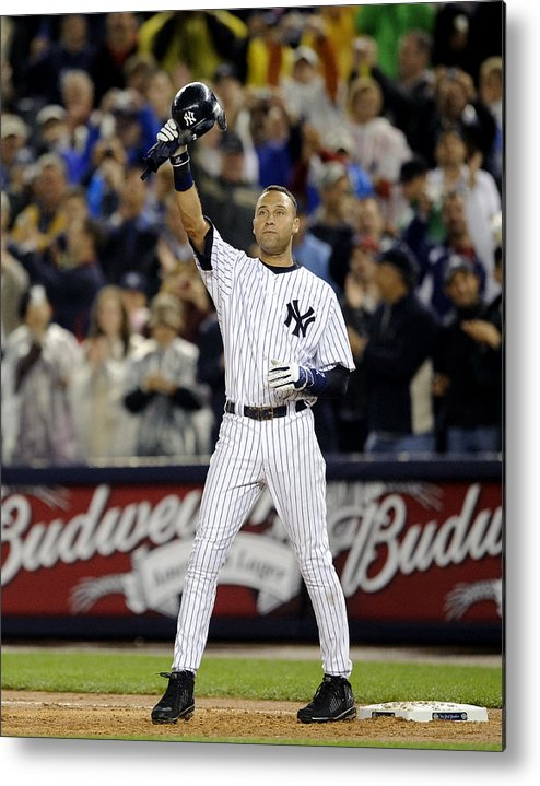 People Metal Print featuring the photograph Lou Gehrig and Derek Jeter by New York Daily News Archive