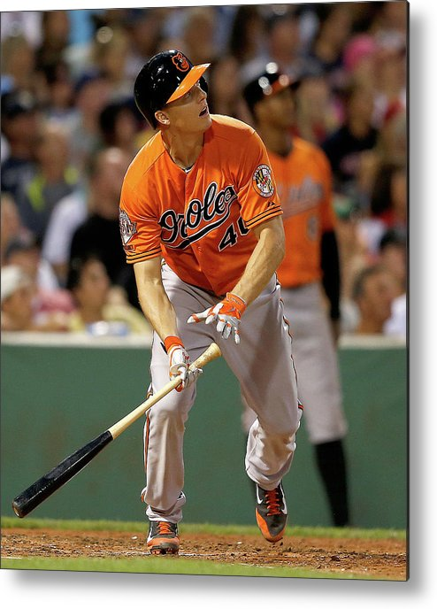 American League Baseball Metal Print featuring the photograph Nick Hundley by Jim Rogash