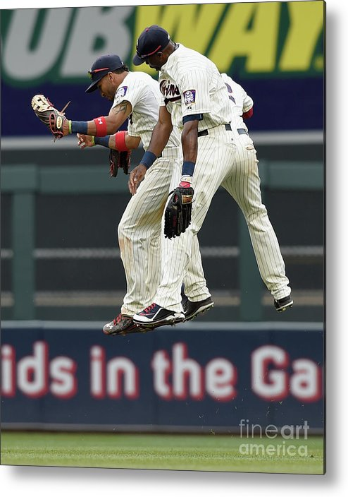 People Metal Print featuring the photograph Torii Hunter, Aaron Hicks, and Eddie Rosario by Hannah Foslien