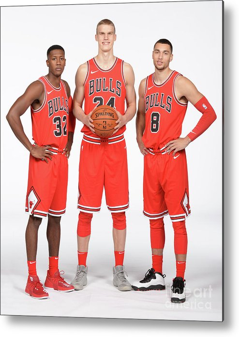 Media Day Metal Print featuring the photograph Zach Lavine, Kris Dunn, and Lauri Markkanen by Randy Belice