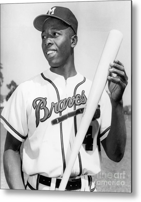 People Metal Print featuring the photograph Hank Aaron by National Baseball Hall Of Fame Library