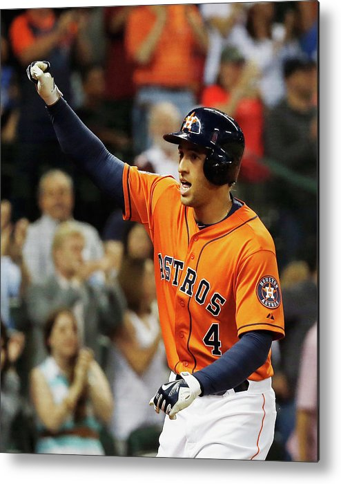 Three Quarter Length Metal Print featuring the photograph George Springer by Scott Halleran