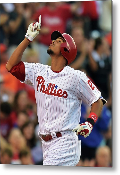 American League Baseball Metal Print featuring the photograph Aaron Altherr by Drew Hallowell