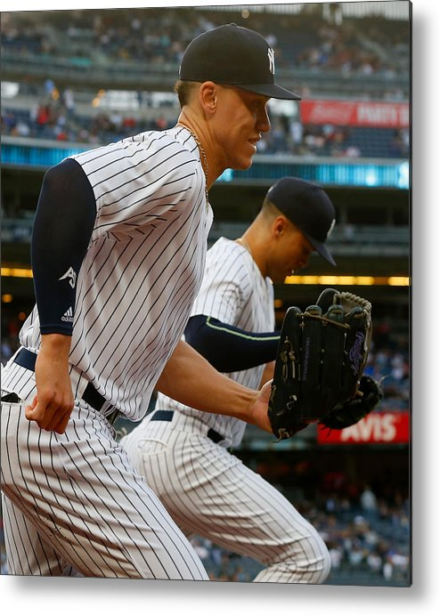 Three Quarter Length Metal Print featuring the photograph Aaron Judge and Giancarlo Stanton by Jim McIsaac