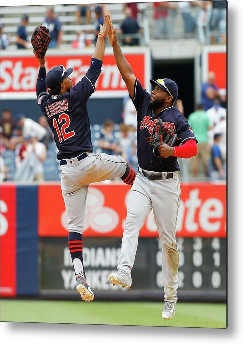 People Metal Print featuring the photograph Abraham Almonte and Francisco Lindor by Jim Mcisaac