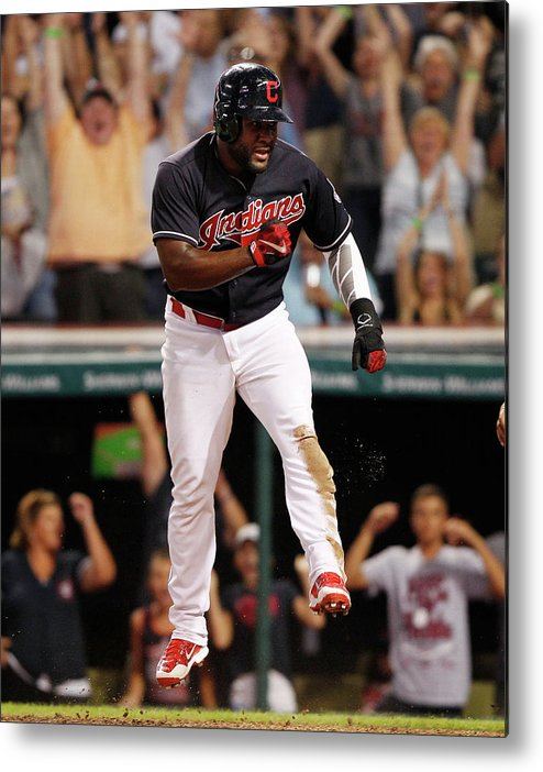 Ninth Inning Metal Print featuring the photograph Abraham Almonte and Tyler Naquin by David Maxwell