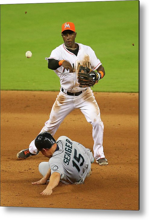 Double Play Metal Print featuring the photograph Adeiny Hechavarria and Kyle Seager by Mike Ehrmann