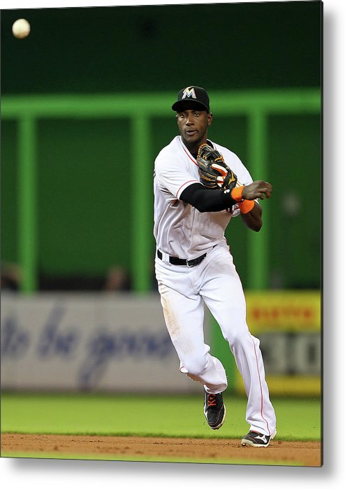 American League Baseball Metal Print featuring the photograph Adeiny Hechavarria by Mike Ehrmann