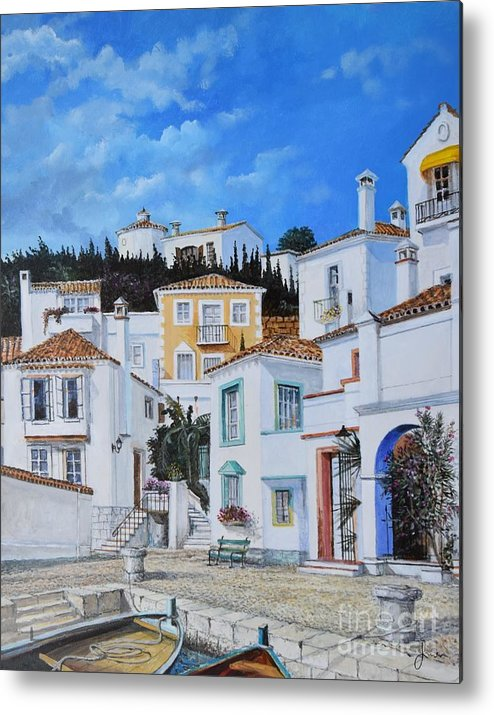 City Metal Print featuring the painting Afternoon Light In Montenegro by Sinisa Saratlic