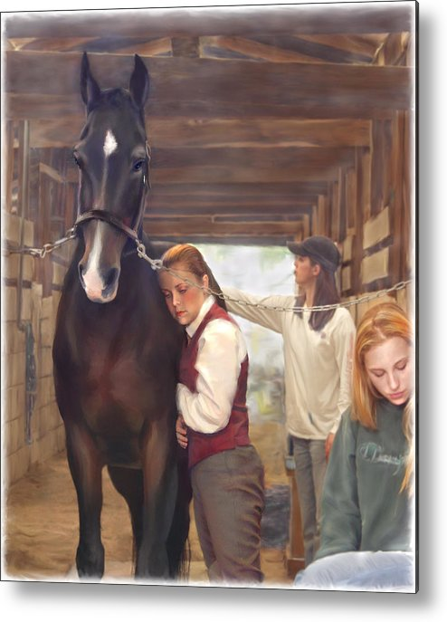 Horse Metal Print featuring the painting Aisle Hug Horse Show Barn Candid Moment by Connie Moses