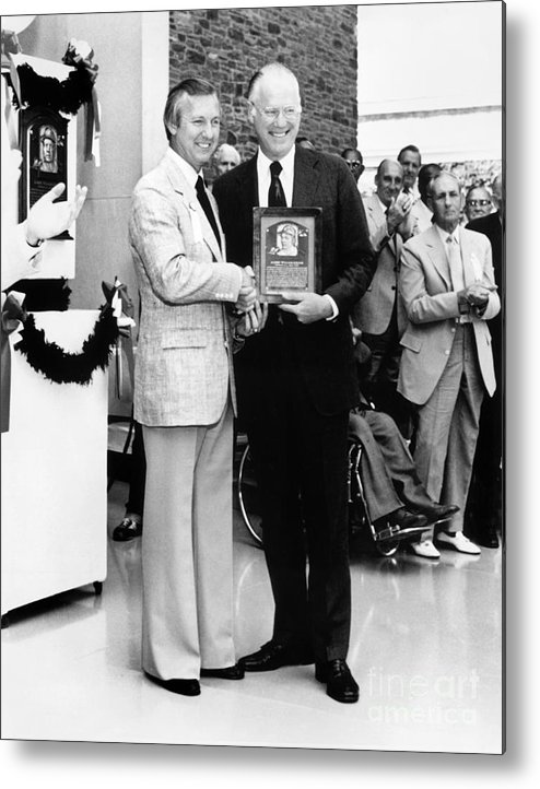 1980-1989 Metal Print featuring the photograph Al Kaline and Bowie Kuhn by National Baseball Hall Of Fame Library
