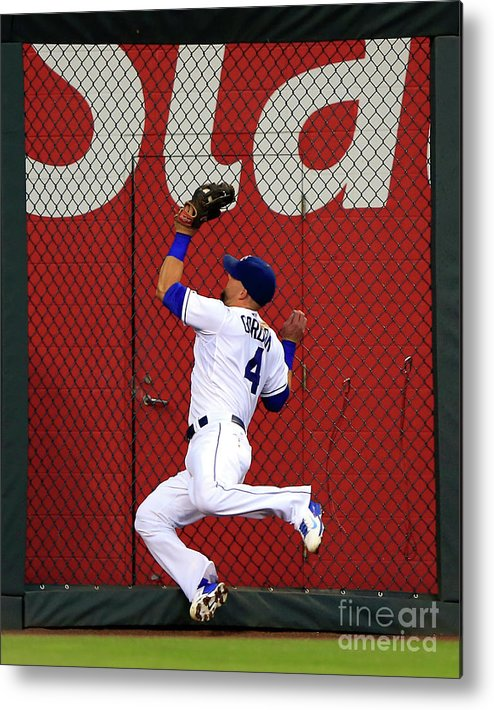 People Metal Print featuring the photograph Alex Gordon and Kurt Suzuki by Jamie Squire