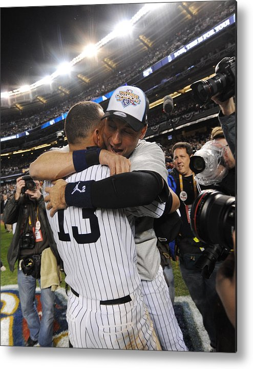 American League Baseball Metal Print featuring the photograph Alex Rodriguez and Derek Jeter by New York Daily News Archive