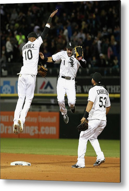 People Metal Print featuring the photograph Alexei Ramirez, Melky Cabrera, and Adam Eaton by Jonathan Daniel