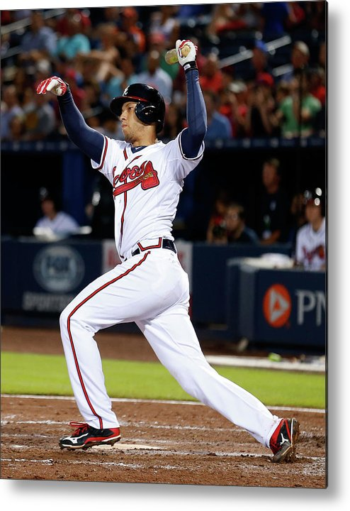 Atlanta Metal Print featuring the photograph Andrelton Simmons by Mike Zarrilli