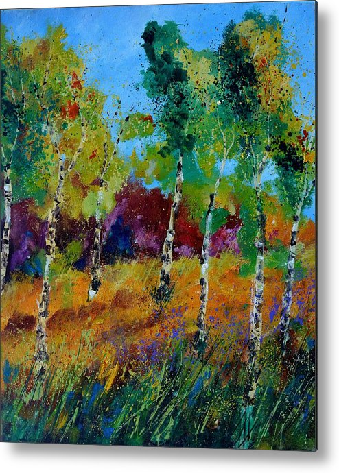 Landscape Metal Print featuring the painting Aspen trees in autumn by Pol Ledent