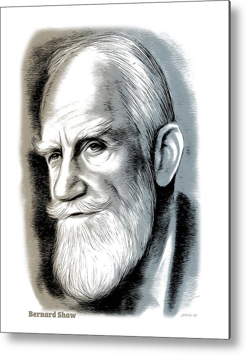 Bernard Shaw Metal Print featuring the mixed media Bernard Shaw - Mixed Media by Greg Joens