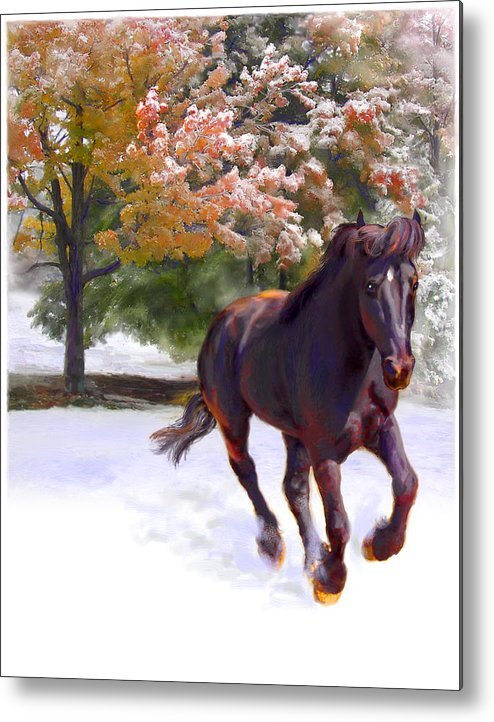Horse Metal Print featuring the painting Black Stallion In Fall Snow Fantasy Art by Connie Moses