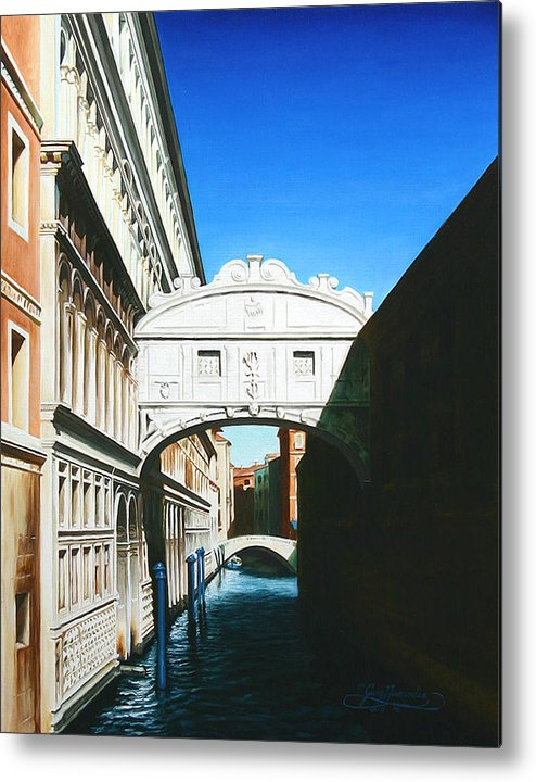 Bridge Of Sighs Metal Print featuring the painting Bridge Of Sighs Venice Italy by Gary Hernandez