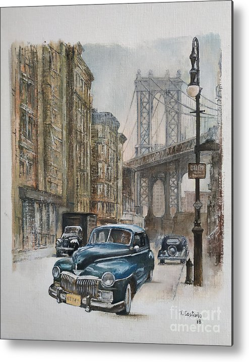 Blue Car Metal Print featuring the painting Brooklyn bridge by Tomas Castano
