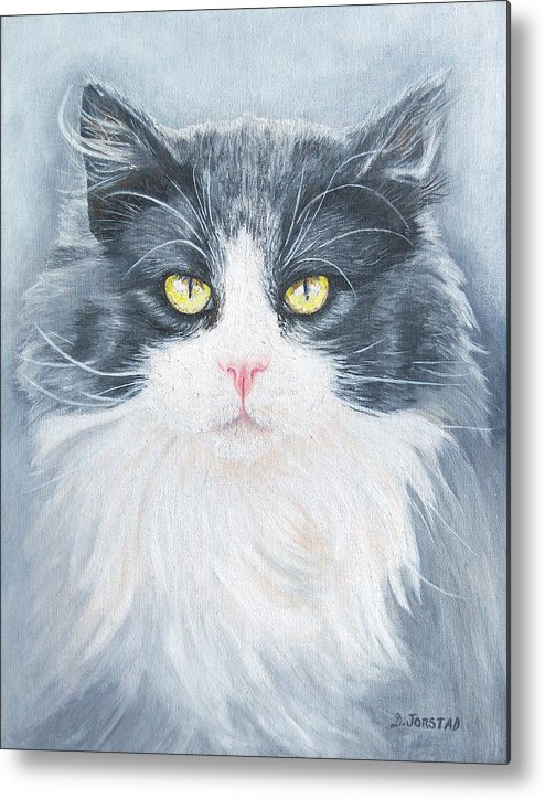 Pet Portrait Artist Metal Print featuring the painting Cat Print Pet Portrait Artist For Hire Commission by Diane Jorstad
