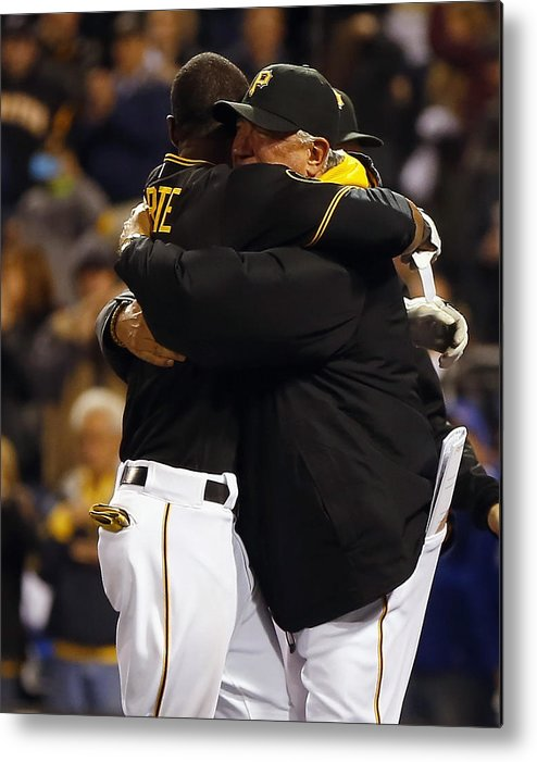 Ninth Inning Metal Print featuring the photograph Clint Hurdle and Starling Marte by Matt Sullivan
