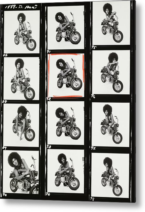 Model Metal Print featuring the photograph Contact Sheet of Marsha Hunt with a Motorbike by Patrick Lichfield