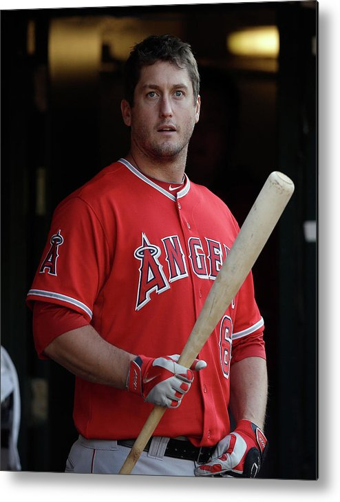 American League Baseball Metal Print featuring the photograph David Freese by Ezra Shaw
