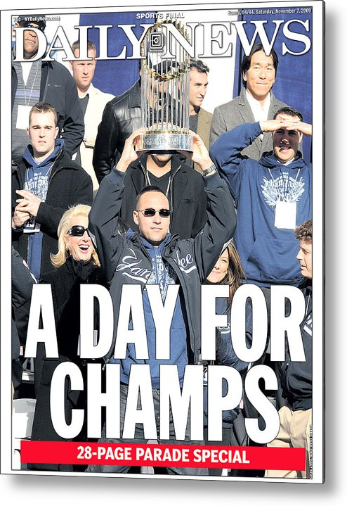 Showing Metal Print featuring the photograph Derek Jeter by New York Daily News Archive