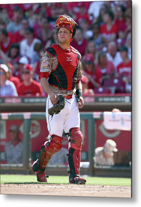Great American Ball Park Metal Print featuring the photograph Devin Mesoraco by Andy Lyons