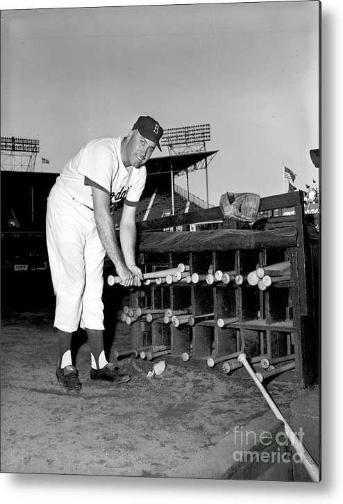 1950-1959 Metal Print featuring the photograph Duke Snider by Olen Collection