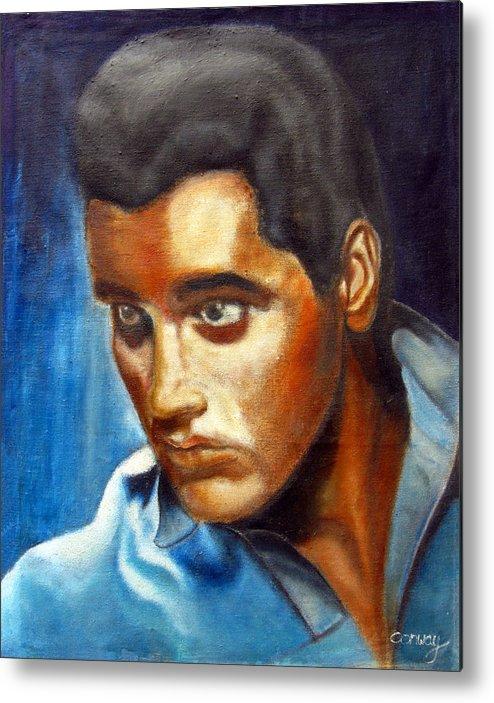 Elvis Metal Print featuring the painting Elvis Presley - moody blue by Tom Conway