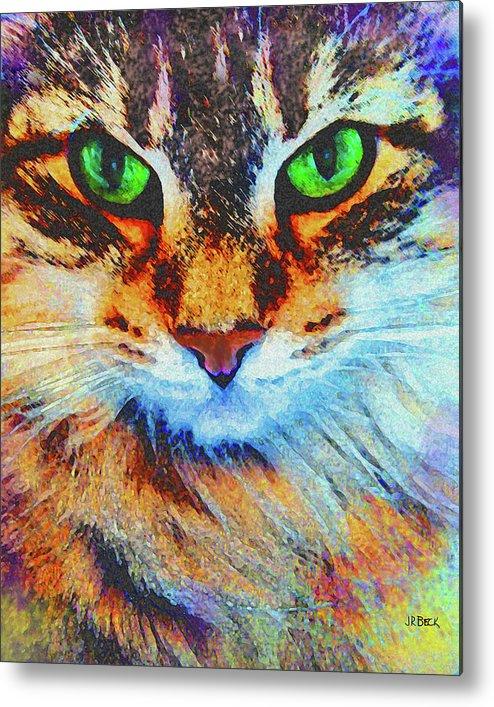 Emerald Gaze Metal Print featuring the digital art Emerald Gaze by John Robert Beck
