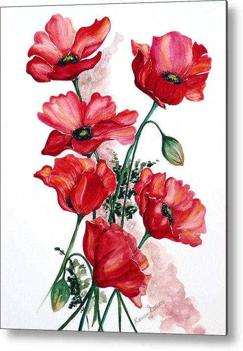 Original Watercolor Of English Field Poppies Painted On Arches Watercolor Paper Metal Print featuring the painting English Field Poppies. by Karin Dawn Kelshall- Best