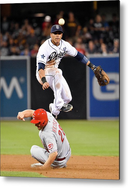 Double Play Metal Print featuring the photograph Everth Cabrera and Chris Heisey by Denis Poroy