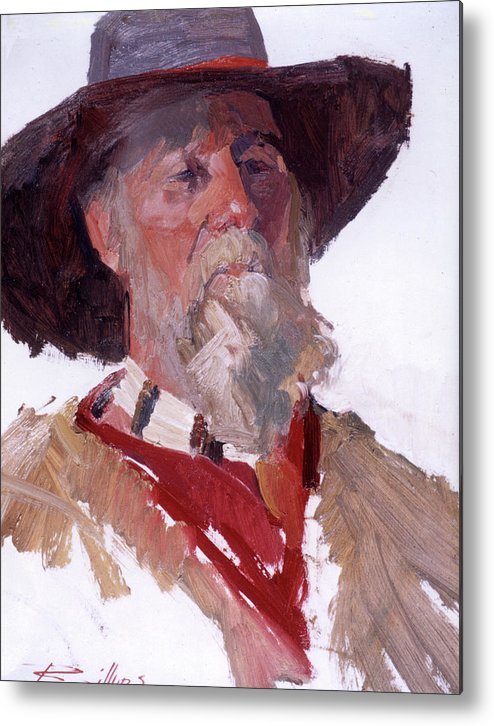 Mountain Men Paintings Metal Print featuring the painting Gary by Betty Jean Billups