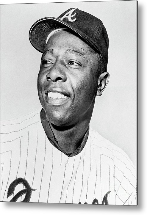 National League Baseball Metal Print featuring the photograph Hank Aaron by National Baseball Hall Of Fame Library