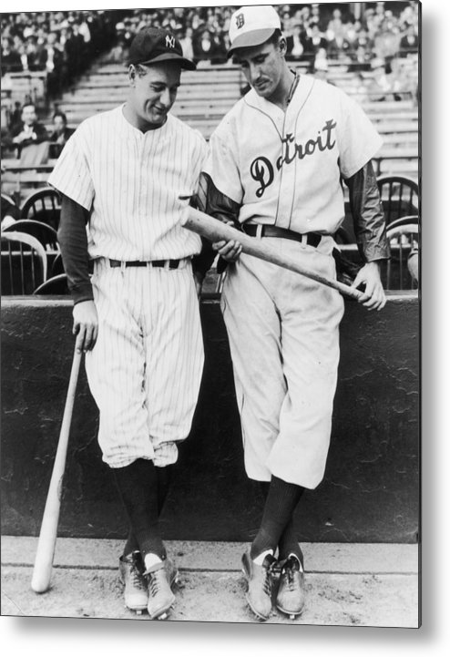 Baseball Cap Metal Print featuring the photograph Hank Greenberg and Lou Gehrig by Fpg