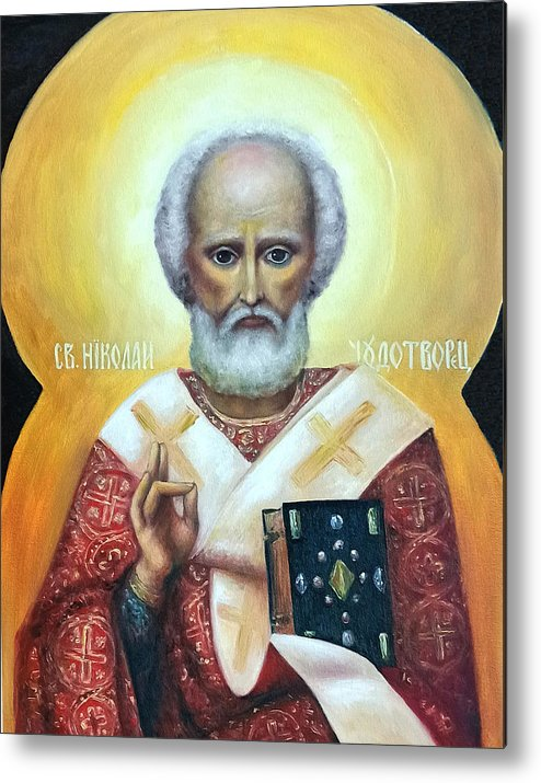 Religion Metal Print featuring the painting icon of St Nicholas the Wonderworker by Natalja Picugina